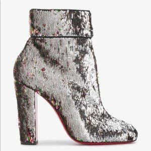 CHRISTIAN LOUBOUTIN Moulamax Sequin Silver Boots